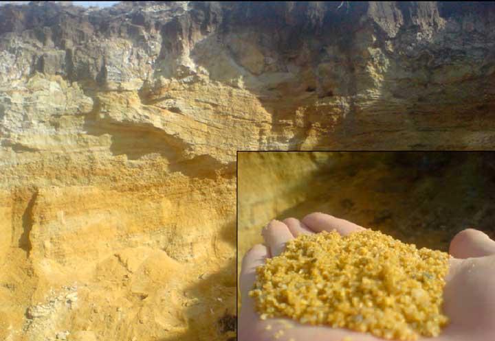 горные породы кварцевого песка